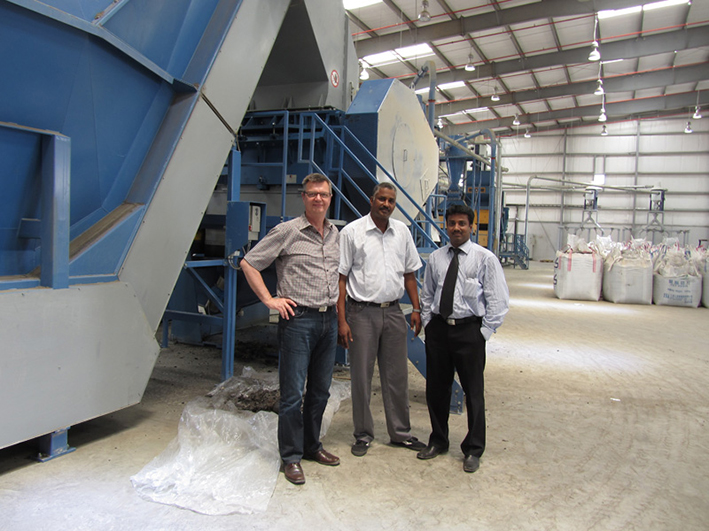 Left to right; Henning Nørgaard (Eldan Recycling), Osman Mohammed Osman (Project Manager, Seder Environmental) and Rajesh Sivarajan (former Sales Manager, Ferrostaal Dubai office)