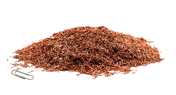 Copper fraction resulting from cable recycling