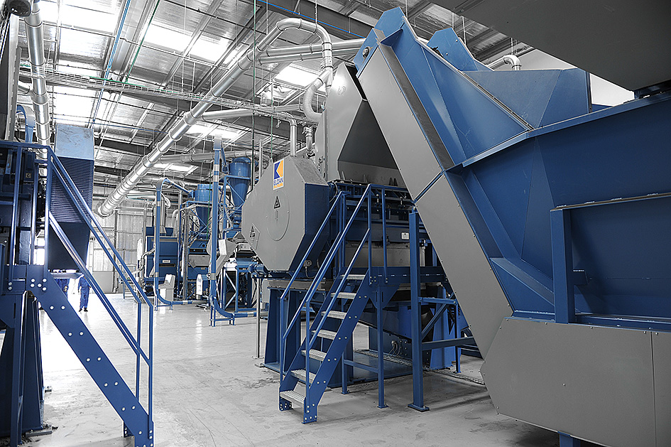 Eldan tyre recycling plant and machines