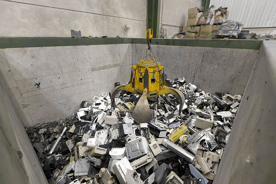 Electronic waste recycling. WEEE scrap to be recycled. Waste Electrical and Electronic Equipment